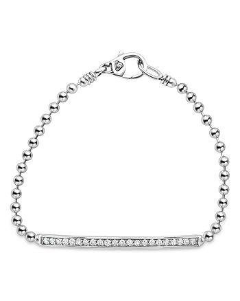 LAGOS - Sterling Silver Caviar Spark Diamond Bar Chain Bracelet