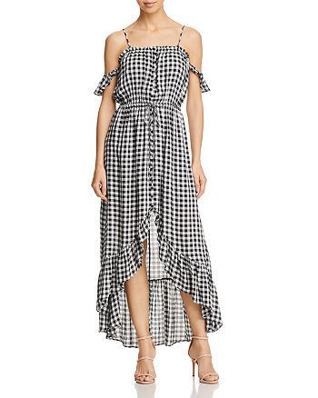 Lost and Wander - Day Trip Ruffled Cold-Shoulder Gingham Dress