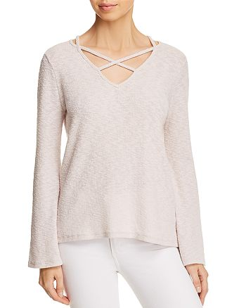 Lost and Wander - Cherry Blossom Cross-Strap Flare-Sleeve Sweater