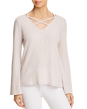 Lost + Wander Cherry Blossom Cross-Strap Flare-Sleeve Sweater