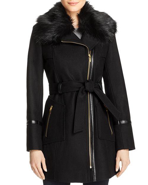 Via Spiga - Faux Fur-Collar Asymmetric Belted Coat