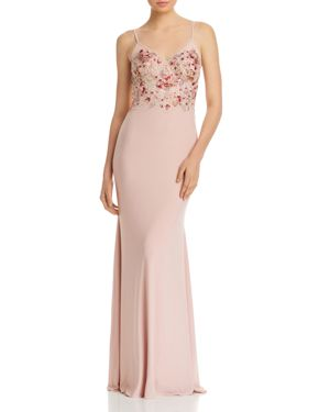 AVERY G Embellished-Bodice Gown in Blush