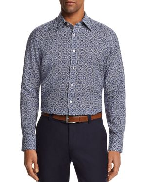 Canali Antique Tile Linen Regular Fit Button-Down Shirt