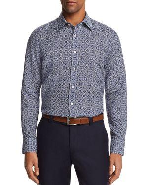 Canali Antique Tile Linen Regular Fit Button-Down Shirt