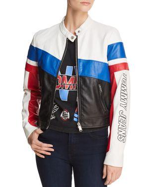 Tommy Jeans Color-Block Faux Leather Racing Biker Jacket - 100% Exclusive 2842859
