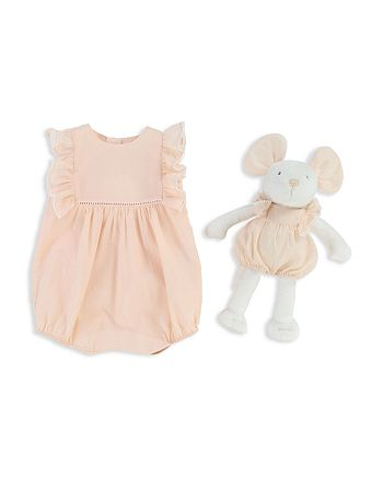 Chloé - Girls' Ruffled Coverall & Mouse Set - Baby