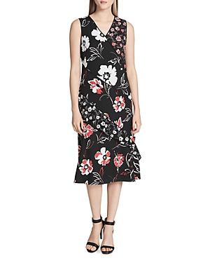 Calvin Klein Paneled Floral Print Sleeveless Dress