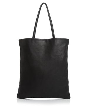 BAGGU Flat Leather Tote in Black/Silver
