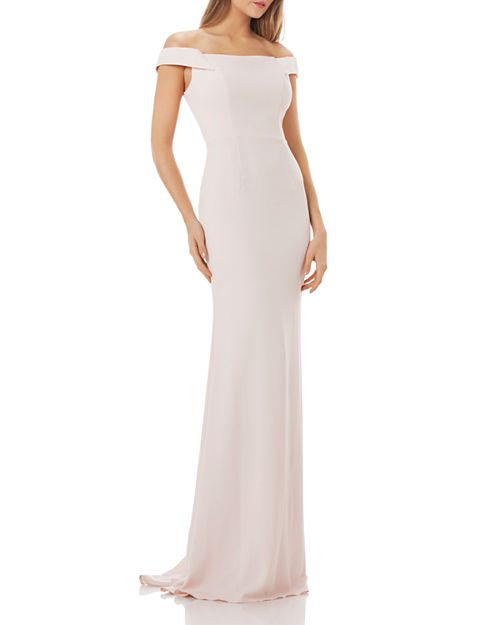 Carmen Marc Valvo Infusion Off-The-Shoulder Crepe Gown | Bloomingdale\'s