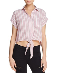 Rails - Amelie Cropped Tie-Front Shirt