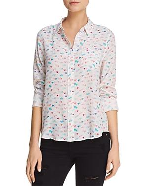 Rails Kate Heart-Print Silk Shirt
