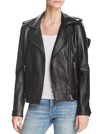 AQUA - Ruffled Leather Moto Jacket - 100% Exclusive