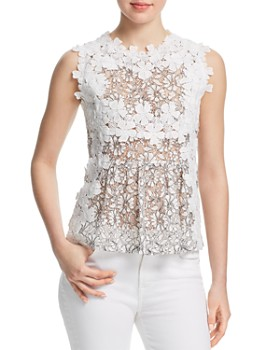 AQUA - Daisy Appliquéd Lace Top - 100% Exclusive