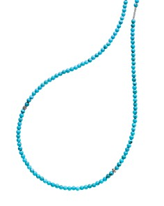 """LAGOS - Sterling Silver Caviar Icon Turquoise Five Station Strand Necklace, 34"""""""