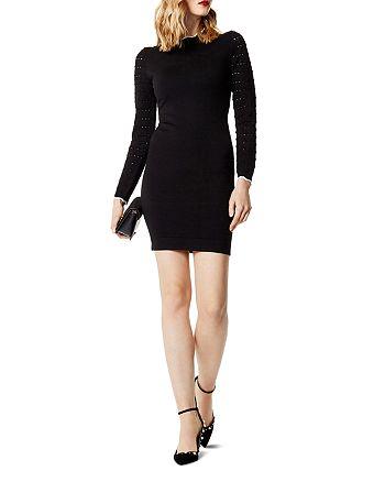 KAREN MILLEN - Pointelle-Sleeve Sweater Dress