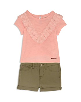 Hudson - Girls' Eyelet-Ruffle Tee & Twill Shorts - Little Kid