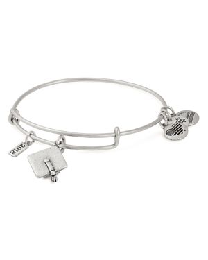 ALEX AND ANI Graduation Cap 2018 Adjustable Wire Bangle in Silver