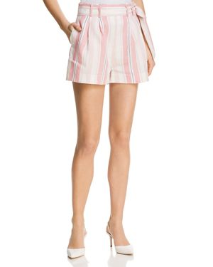 Sage Striped Linen Shorts in Pink
