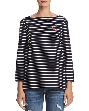 French Connection Cherry Love Embroidered Striped Long-Sleeve Tee