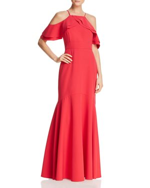 Ruffle-Trim Cold-Shoulder Mermaid Gown, Red