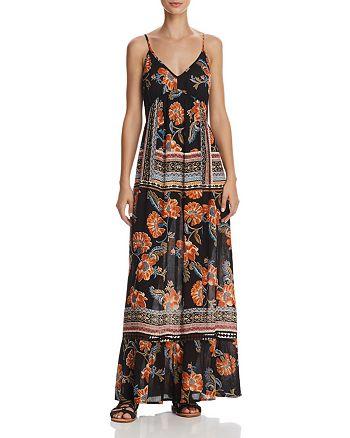 AQUA - Floral Print Tie-Back Maxi Dress - 100% Exclusive