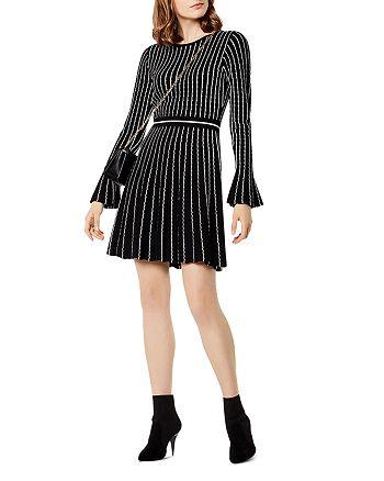 KAREN MILLEN - Striped Knit Fit-and-Flare Dress