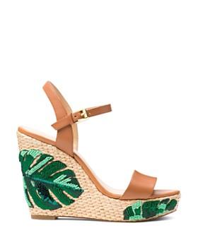 MICHAEL Michael Kors - Women's Jill Beaded Leather Platform Wedge Sandals