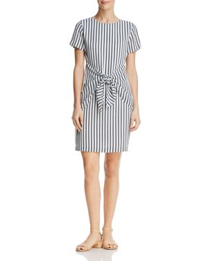 DYLAN GRAY STRIPED TIE-FRONT DRESS