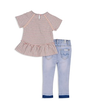 7 For All Mankind - Girls' Striped Ruffled Tee & Light-Wash Skinny Jeans Set - Baby