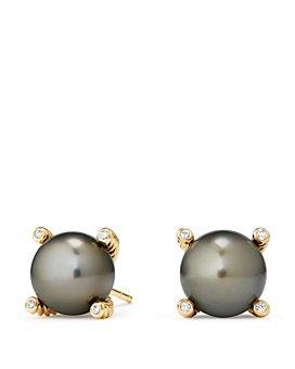 David Yurman - Solari Cultured Tahitian Gray Pearl Earrings with Diamonds in 18K Gold