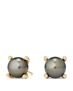 David Yurman - 18K Yellow Gold Solari Pearl Earrings with Diamonds