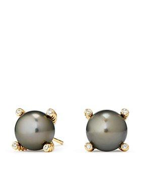 David Yurman - 18K Yellow Gold Solari Pearl Earrings with Diamonds