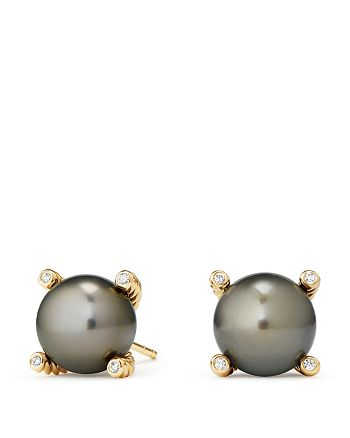 David Yurman - Solari Cultured Tahitian Gray Pearl Earrings with Diamonds in 18K Gold