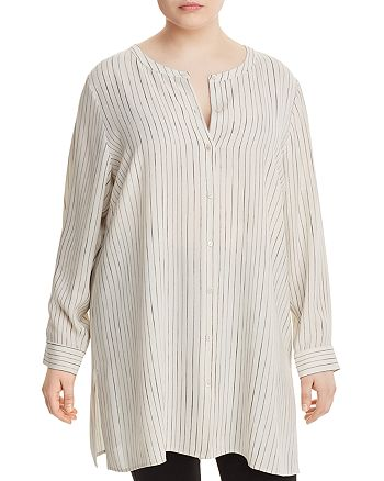 Eileen Fisher Plus - Pinstriped Silk Tunic Top