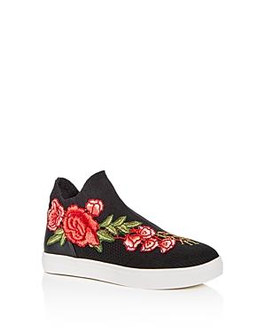 Steve Madden Girls' Floral Applique Knit High Top Sneakers - Little Kid, Big Kid