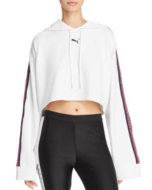 Fenty Puma X Rihanna Cropped Hooded Sweatshirt, White