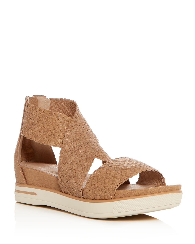 Eileen Fisher Women's Woven Leather Crisscross Platform Sandals