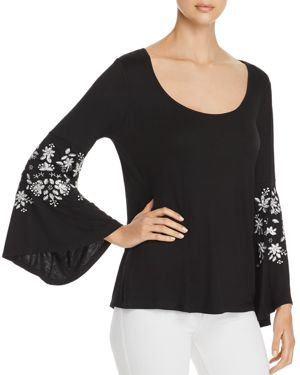LOVE SCARLETT EMBROIDERED BELL-SLEEVE TOP