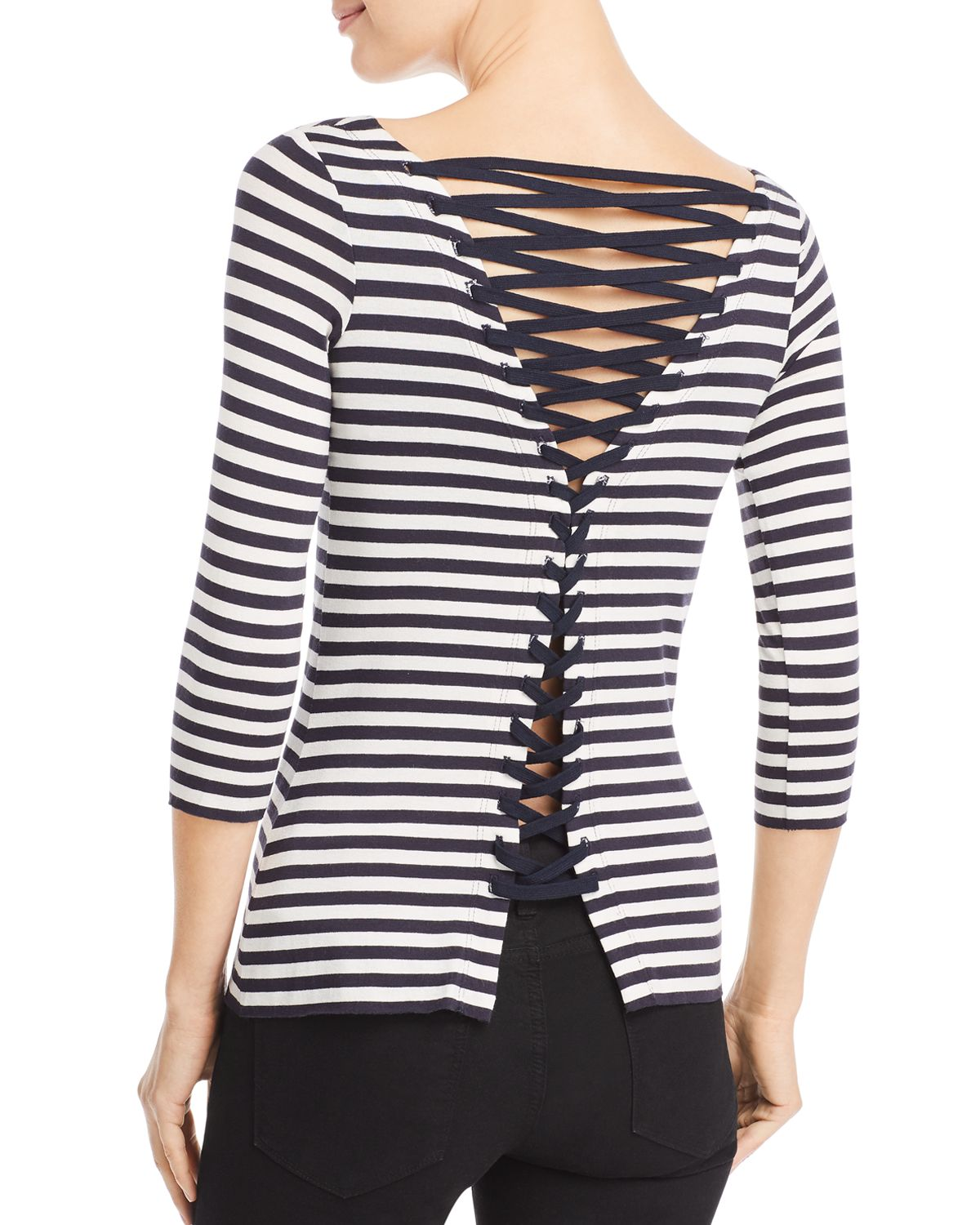 Succulent Lace Up Striped Top by Bailey 44