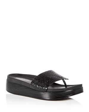WOMEN'S FIFI SNAKE EMBOSSED PATENT LEATHER PLATFORM THONG SANDALS