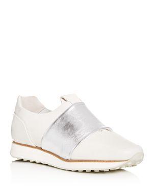 Dylan Elastic Runner Sneakers in White/Silver