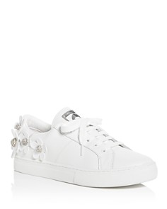 MARC JACOBS - Women's Daisy Embellished Leather Lace Up Sneakers
