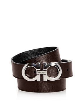 Salvatore Ferragamo - Revival Textured Reversible Belt with Shiny Rhodium-Tone Double Gancini Buckle