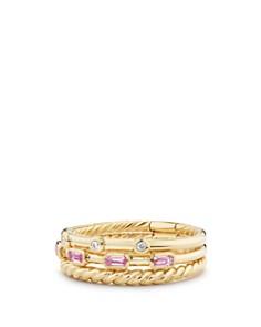 David Yurman - Novella Three-Row Ring in Pink Sapphire with Diamonds