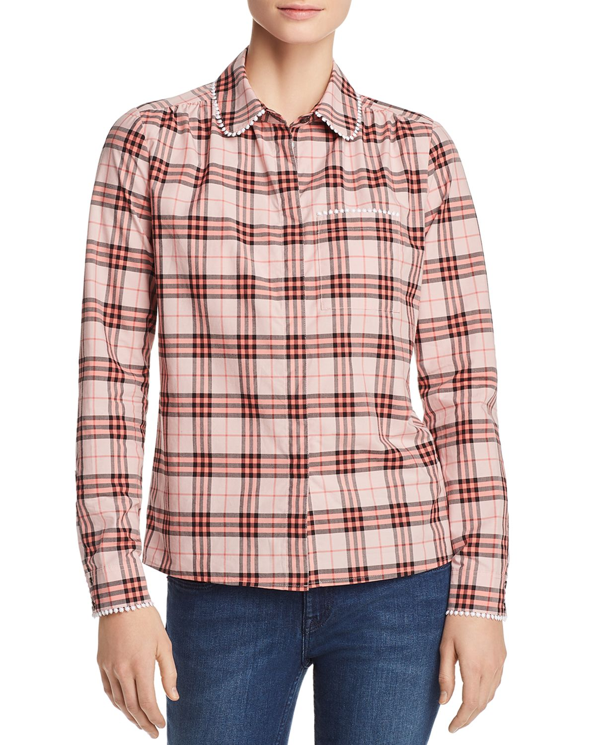 Brambling Embroidered Plaid Top by Burberry