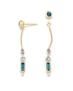 David Yurman - Novella Drop Earrings in Hamtpon Blue Topaz, Tanzanite & Aquamarine with Diamonds