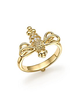 Temple St. Clair - 18K Yellow Gold Resting Bee Diamond Ring