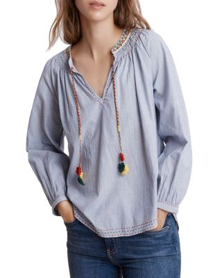 Neena Embroidered Striped Peasant Blouse  by Velvet By Graham &Amp; Spencer