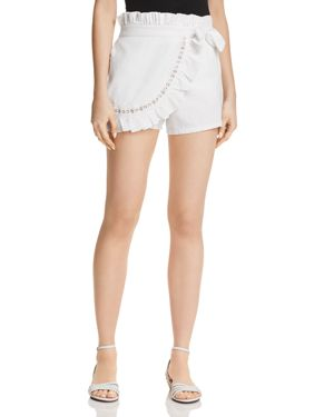 MISA Neli High-Waist Ruffle Wrap Skort in White