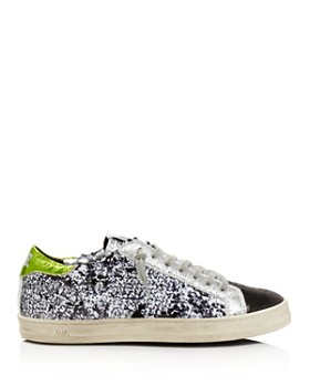 P448 - Women's John Sequined Low Top Lace Up Sneakers